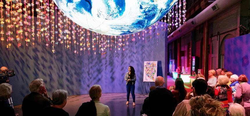 Maryann Talia Pau speaking at the Newcastle launch.